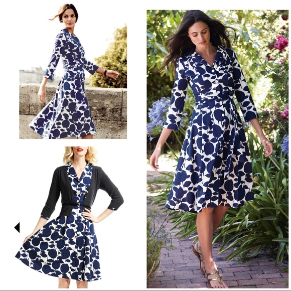 fashion design brand new good looking EUC Boden Riviera Floral Belted Shirt Dress